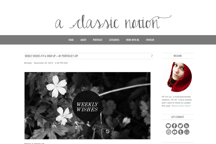 screenshot of new blog design