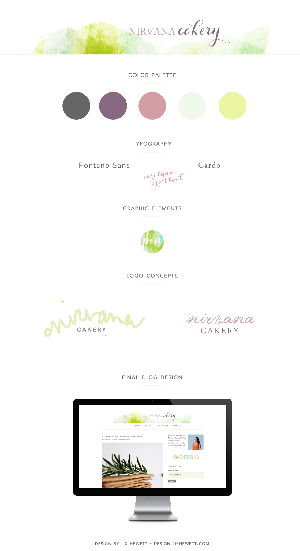 Branding + Blog Design for WordPress Food Blog Nirvana Cakery