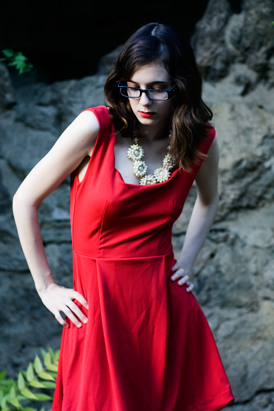 Style / Red Dress & Pearl Cluster Necklace / Lix Hewett