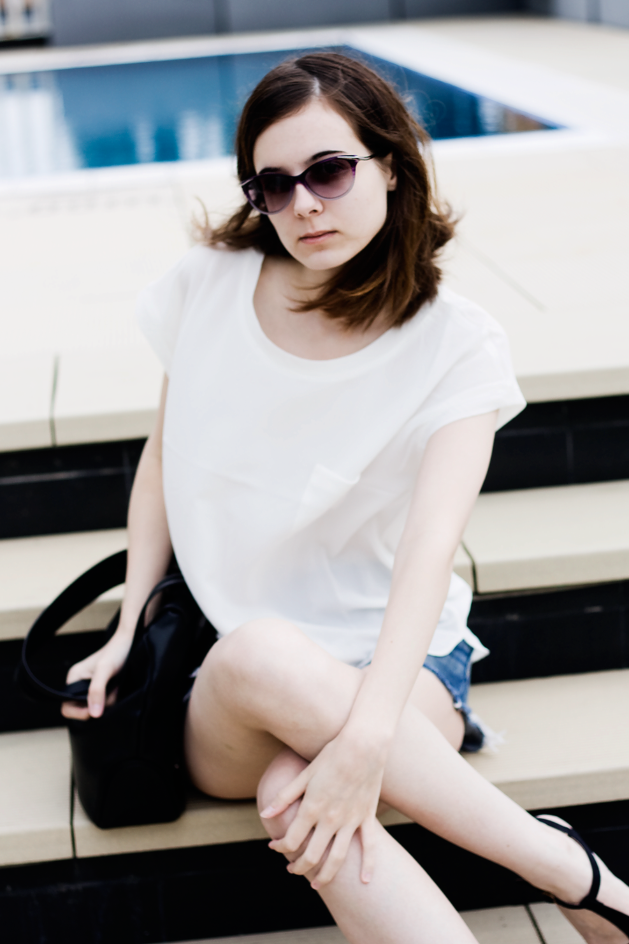 Style / Sunglasses, White Shirt, Denim Shorts / Lix Hewett